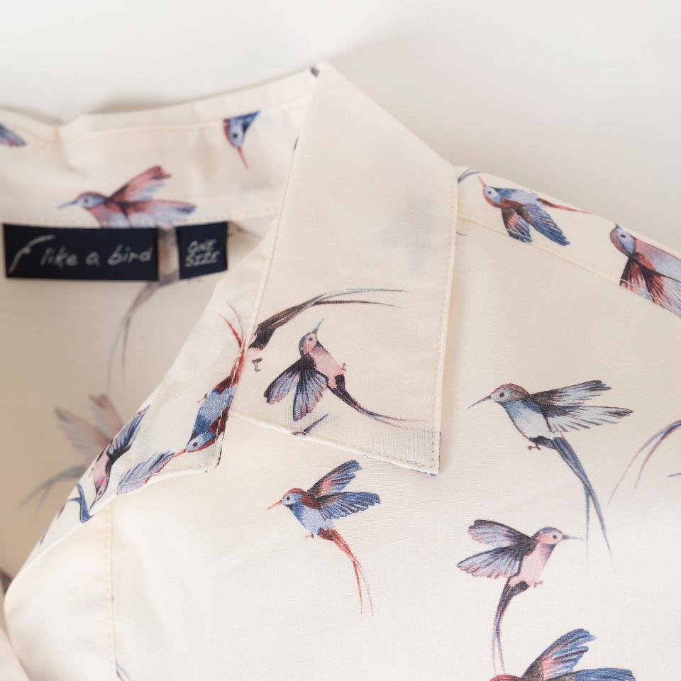 OneSize-Oversized Blusenhemd Kolibri-Druck